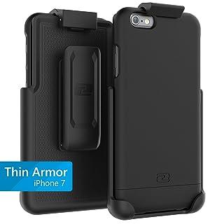 Encased Thin Armor iPhone 7 Belt Case, Hybrid Shell w/Reinforced Secure-fit Holster Clip (Jet Black)