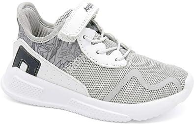 Zapatillas Deportivas para niños de Angelitos, diseñadas en España, para niñas, con Cierre de Velcro y Cordones elásticos, Bonitas, Ligeras y cómodas. Color Blanco y Gris, Color Blanco, Talla 29 EU: Amazon.es: