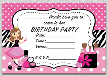 GIRLS PAMPER PARTY CHILDRENS BIRTHDAY INVITES INVITATIONS X 10 PACK