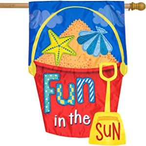 Briarwood Lane Fun in The Sun Applique Summer House Flag Sand Bucket 28