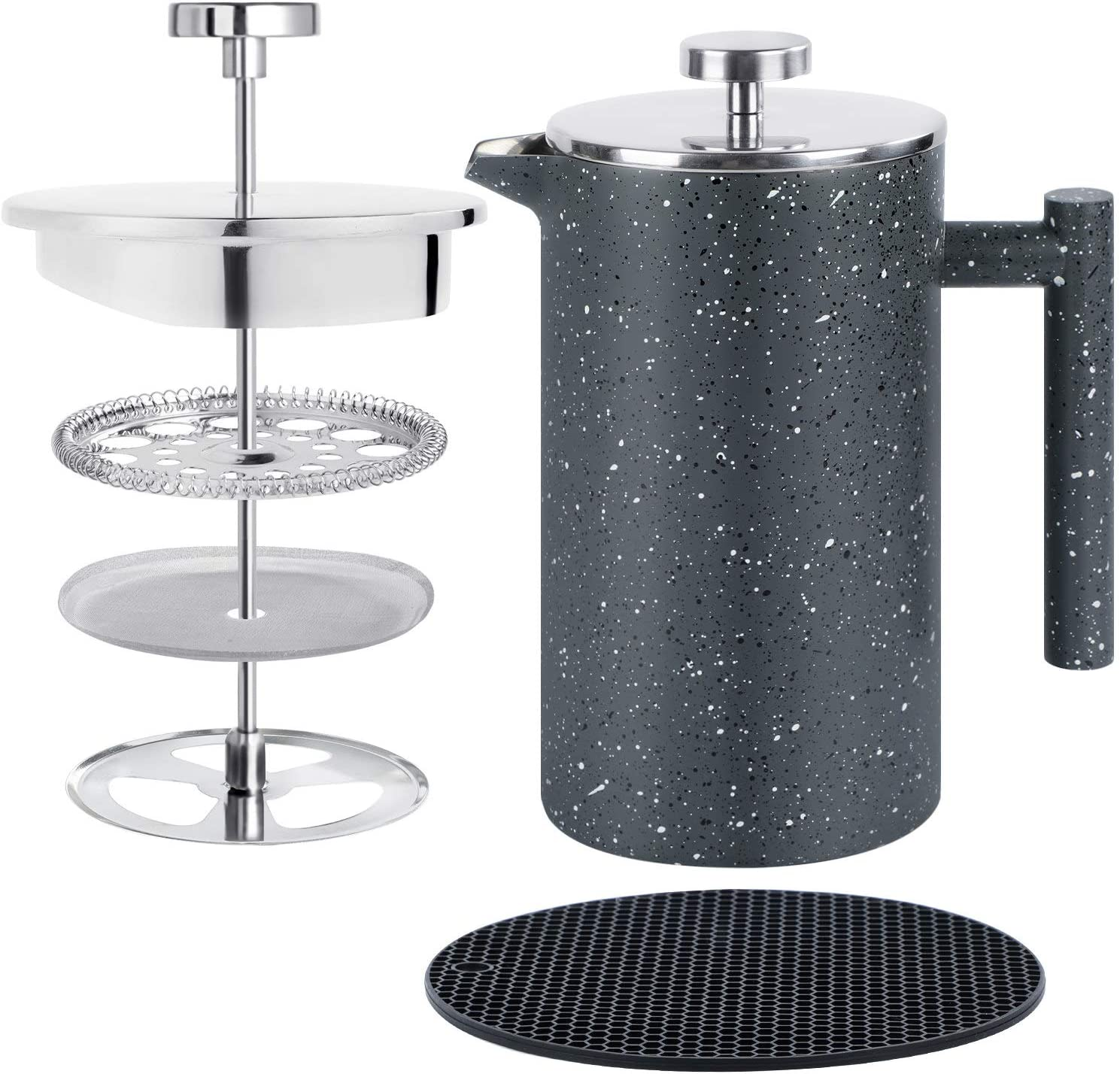 KOTEFFR French Press– 34oz/1.0L Coffee Press French Press Coffee Maker with Food Grade Stainless Steel – 18/10 and Double Wall Insulation & Unique Filter Screen for Good Coffee and Tea.