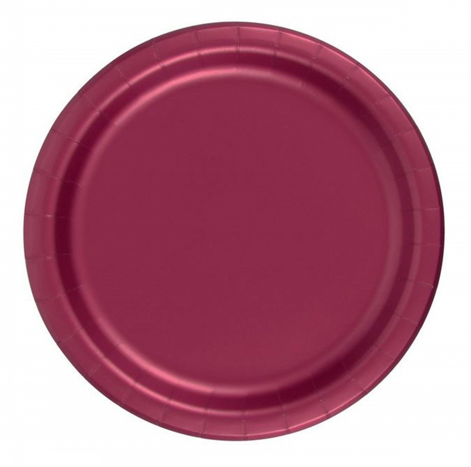 240 Burgundy Wine (10 Pks of 24) 7 Inch Wax Coated Plain Solid Color Dessert Cake Paper Plates