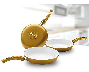 Bialetti Ceramic OK Easy - Juego de sartenes (revestimiento de cerámica, 3 unidades, 20, 24 y 28 cm): Amazon.es: Hogar