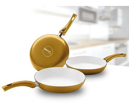 Bialetti Ceramic OK Easy - Juego de sartenes (revestimiento de cerámica, 3 unidades,