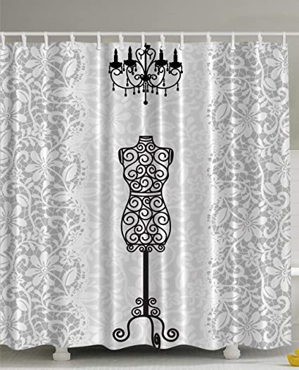Ambesonne Gray Shower Curtain Female Dress Form Mannequin Black Chandelier White  Lace Home Woman Fashion Theme