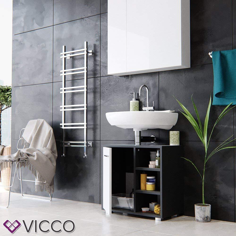 Vicco Meuble Vasque Perry Armoire de Toilette Salle de Bain Blanc Anthracite