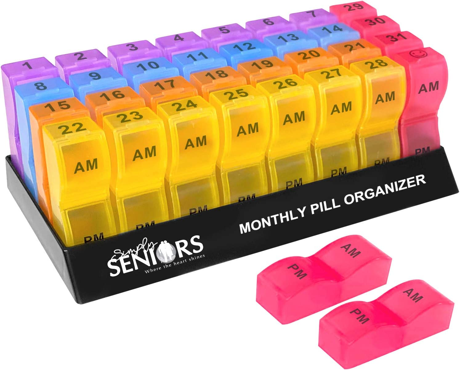 Monthly Pill Organizer – Monthly Medicine Organizer with Color Coded Weekly System – 30 Day Pill Box Organizer 2 Times a Day AM PM and Don't Forget to Take Your Prescribed Doses +1 Extra Slot+2 Spare