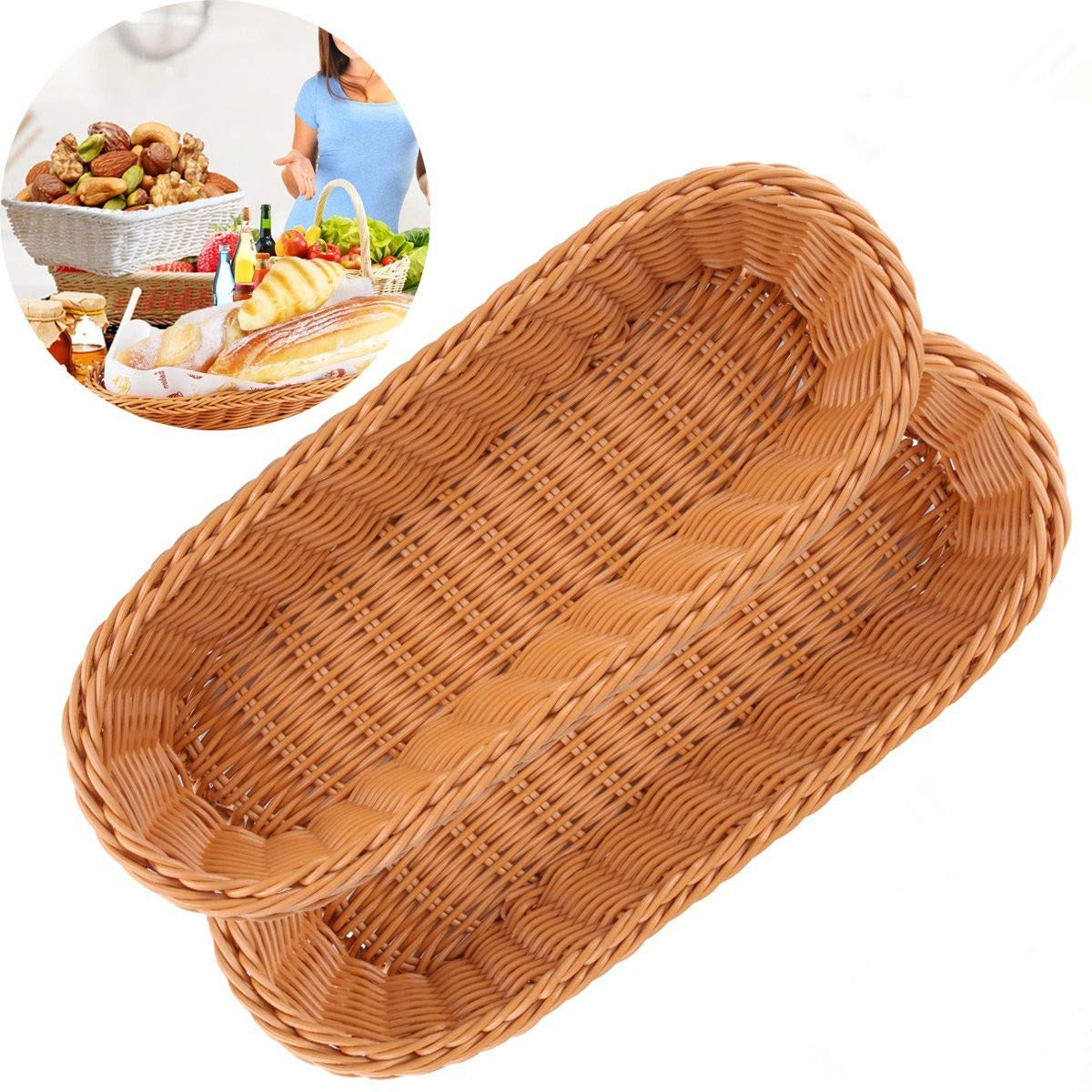Bread Basket,2 Poly Wicker Food Serving Baskets Tray for Restaurant/Kitchen/Coffee Table Display Decoration Fruit Snacks Container Mcisyness