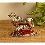 eCraftIndia White Metal Cow and Calf