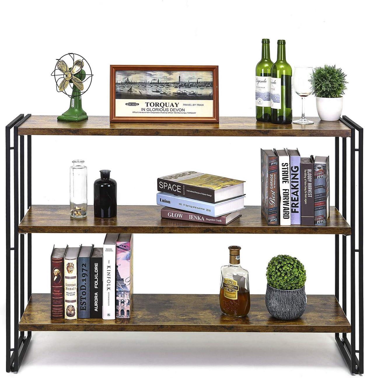 HCHQHS 3 Tier Bookshelf Open Bookcase 47 Inch Rustic Industrial Storage Rack Shelf Cabinet