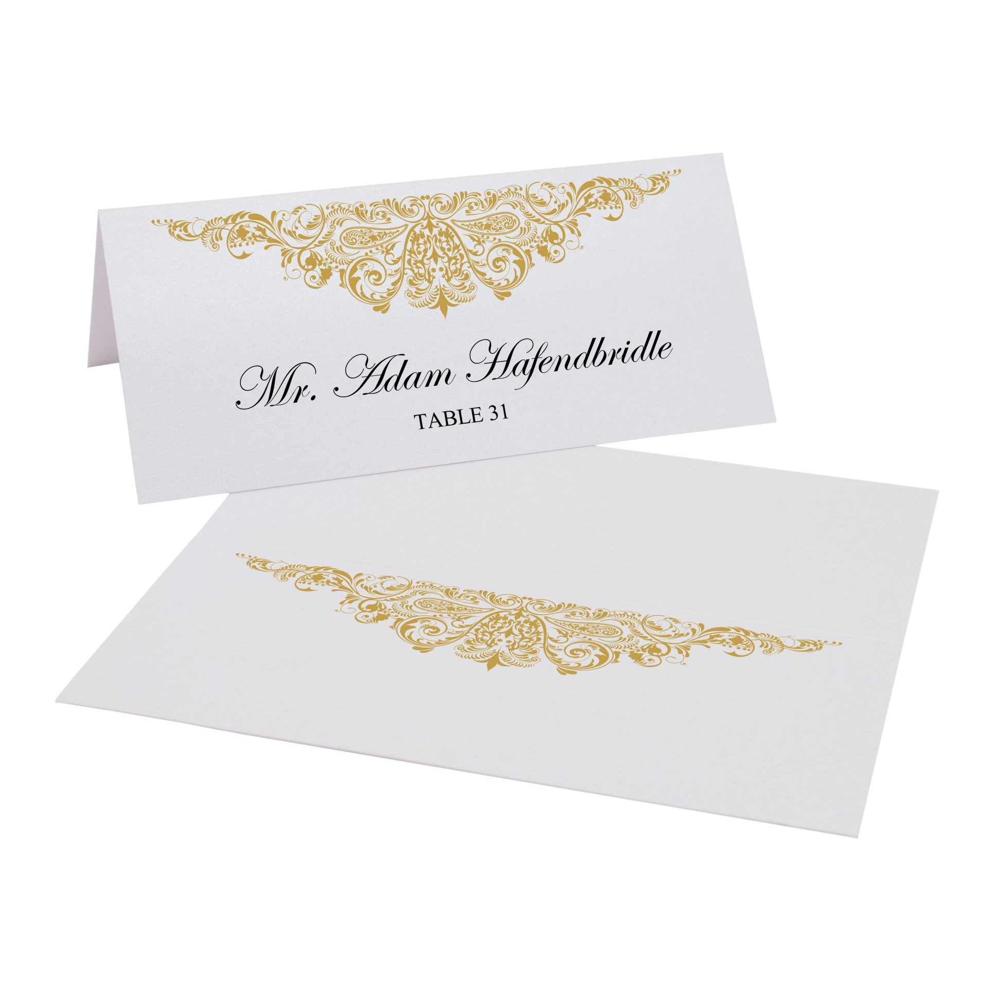 Documents and Designs Paisley Easy Print Place Cards, Gold, Set of 150 (25 Sheets)