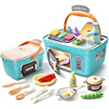CUTE STONE Kids Picnic & Kitchen Playset,Portable Pinic Basket Toys with Musics & Lights, Color Changing Play Foods,Play Sink