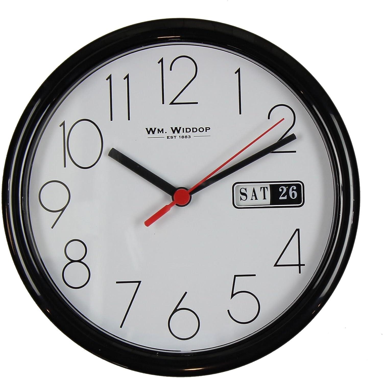 "Wm.Widdop Day//Date Wall Clk-White Case//White Dial 8.5/""Rnd B"