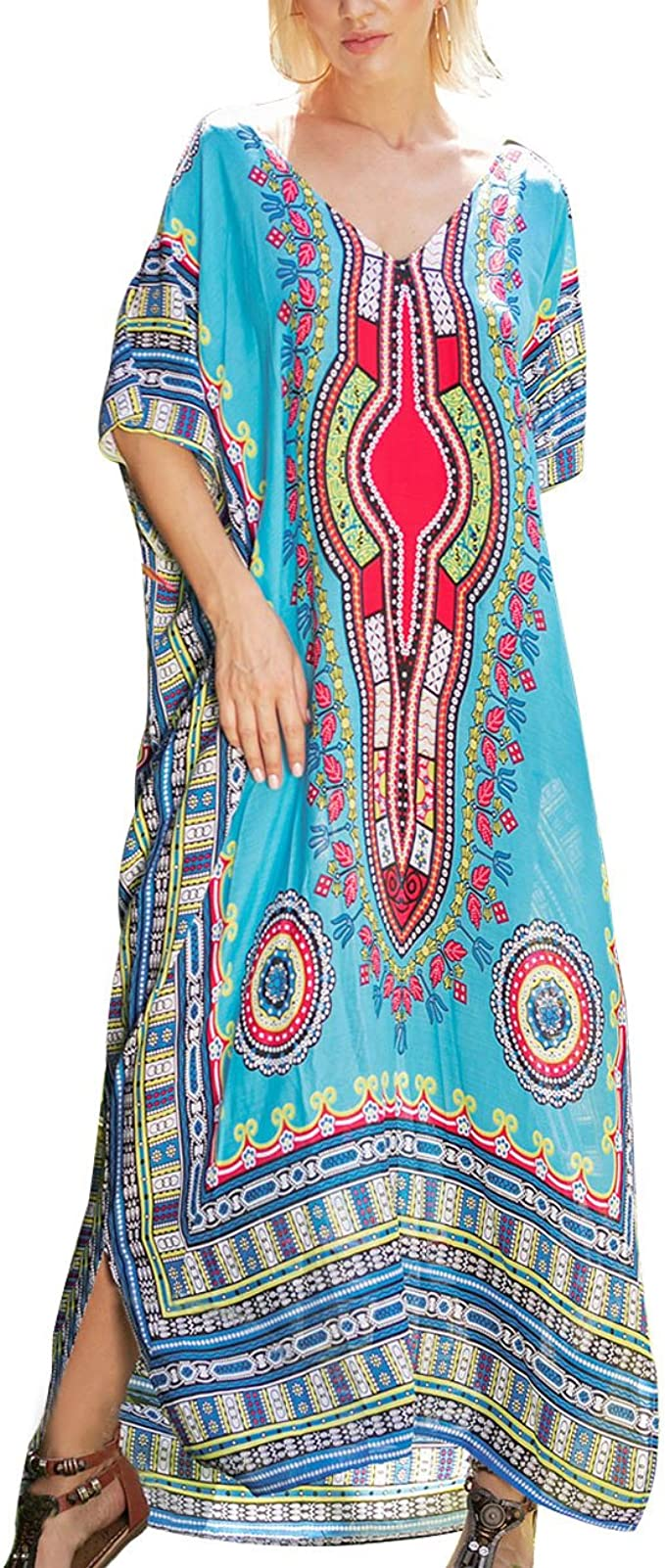Blue Floral KaftanCaftan Dress Delivery Dress Maxi Dress Resort Coverup Summer Dress Gift for Her Night Wear Wedding plus dress