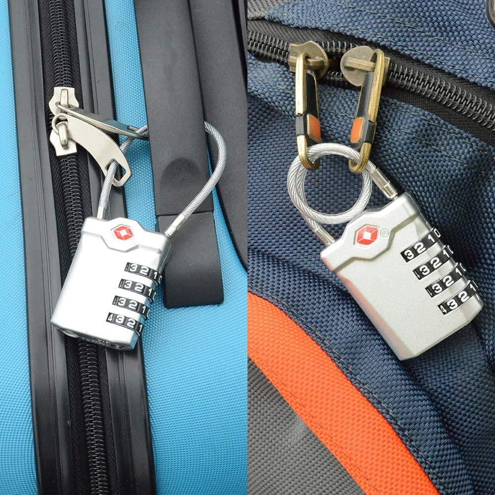 Black ZHEGE TSA Approved Luggage Locks Easy Read Dials School Flexible Cable Travel Locks for Suitcases Gym White Numbers
