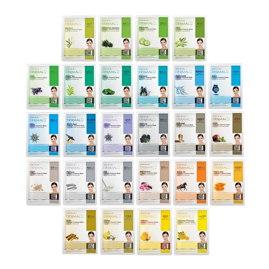 DERMAL 26 Green & Yellow Combo Pack Collagen Essence Full Face Facial Mask Sheet - The Ultimate Supreme Collection for Every Skin Condition Day to Day Skin Concerns