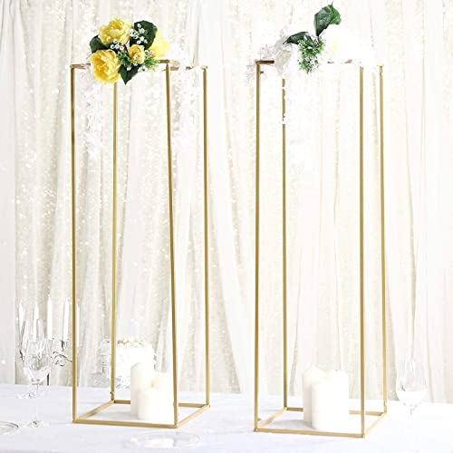 Efavormart 2 Pack 40 Matte Gold Wedding Flower Stand Metal Vase Column Stand Geometric Centerpiece Vase