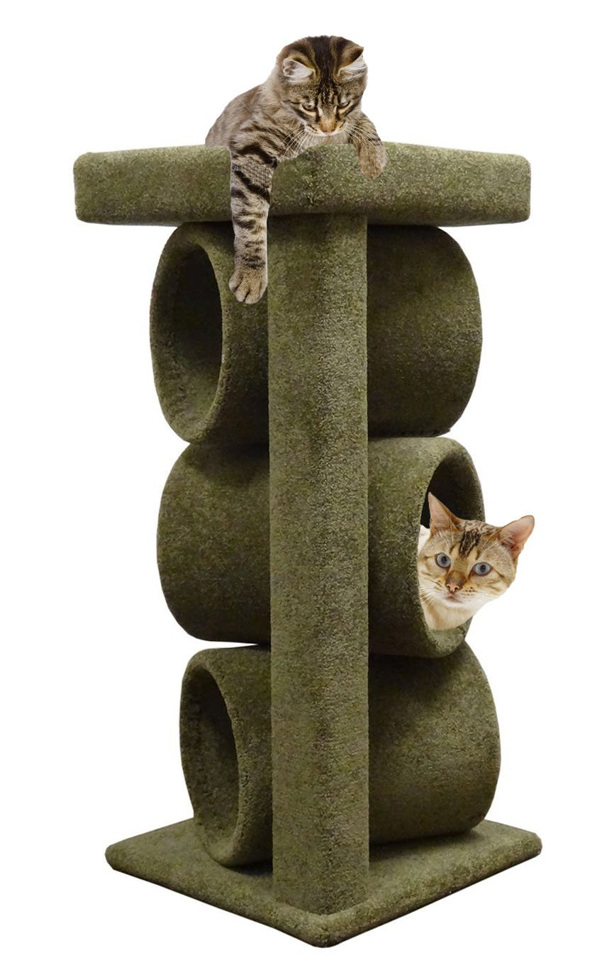 44 inch Cat Furniture Tower in Green Carpet Cat Tree Topper for Big Cats