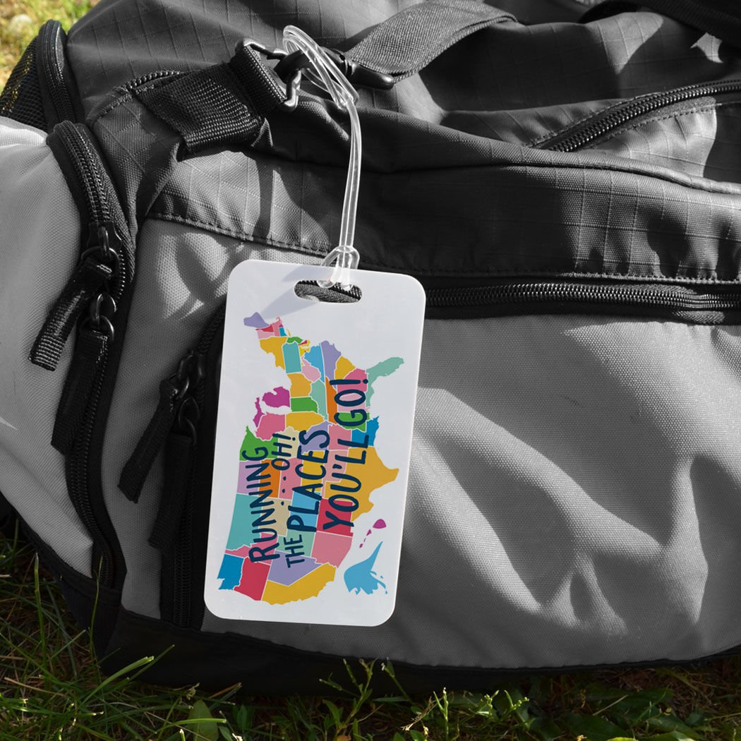 Running Oh The Places Youll Go LARGE Running Luggage /& Bag Tag Custom Info on Back