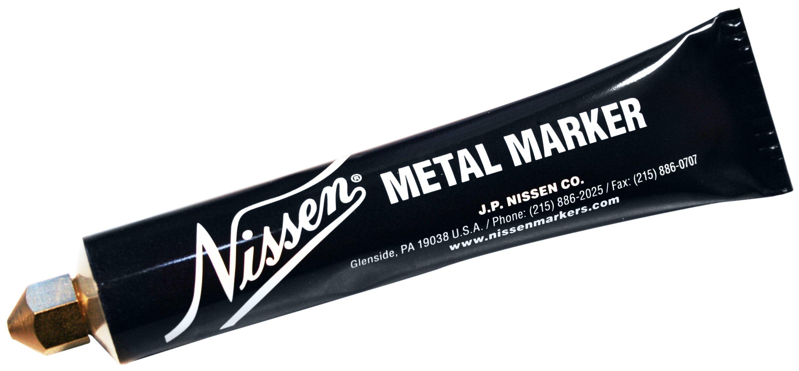 Nissen MMYEM Metal Ball Point Marker, 1/8'' Tip, Yellow (Pack of 12)