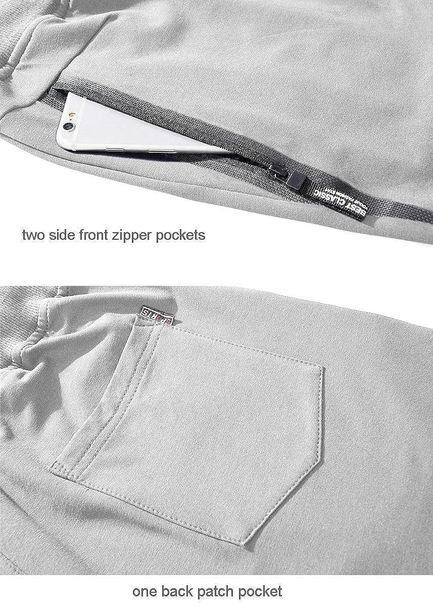 YSENTO Mens Casual Drawstring Shorts Elastic Waist Workout Shorts Zipper Pockets