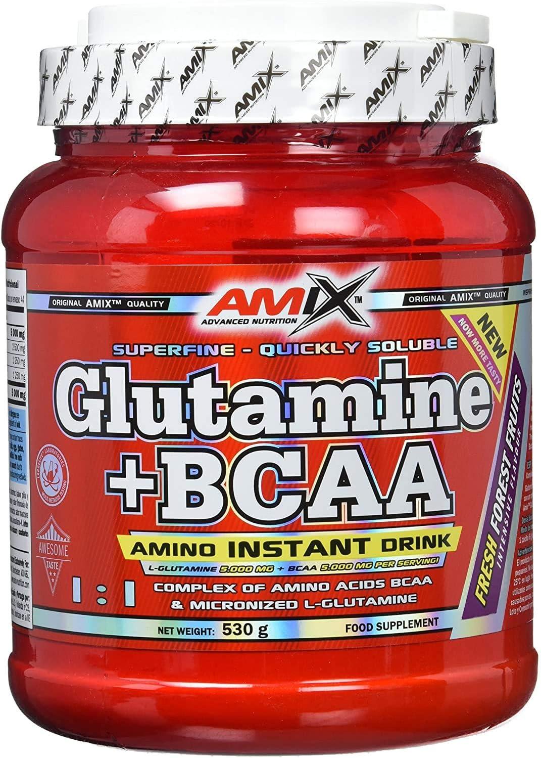 AMIX - Bcaa Glutamina - 530 Gramos - Complemento Alimenticio de Glutamina en Polvo - Reduce el Catabolismo Muscular - Ideal para Deportistas - Sabor ...