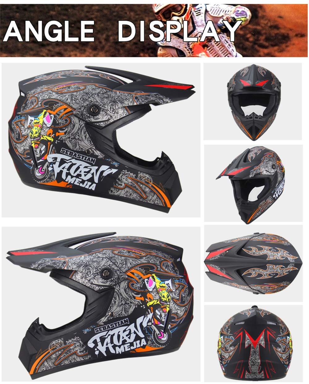 52~55cm Moto DH Enduro VTT Descente Dirt Bikes Quad Casque de Moto Cross pour Les Enfants et Les Adultes Bleu, S Casque de Moto-Cross avec Lunettes de Protection Gants Masque