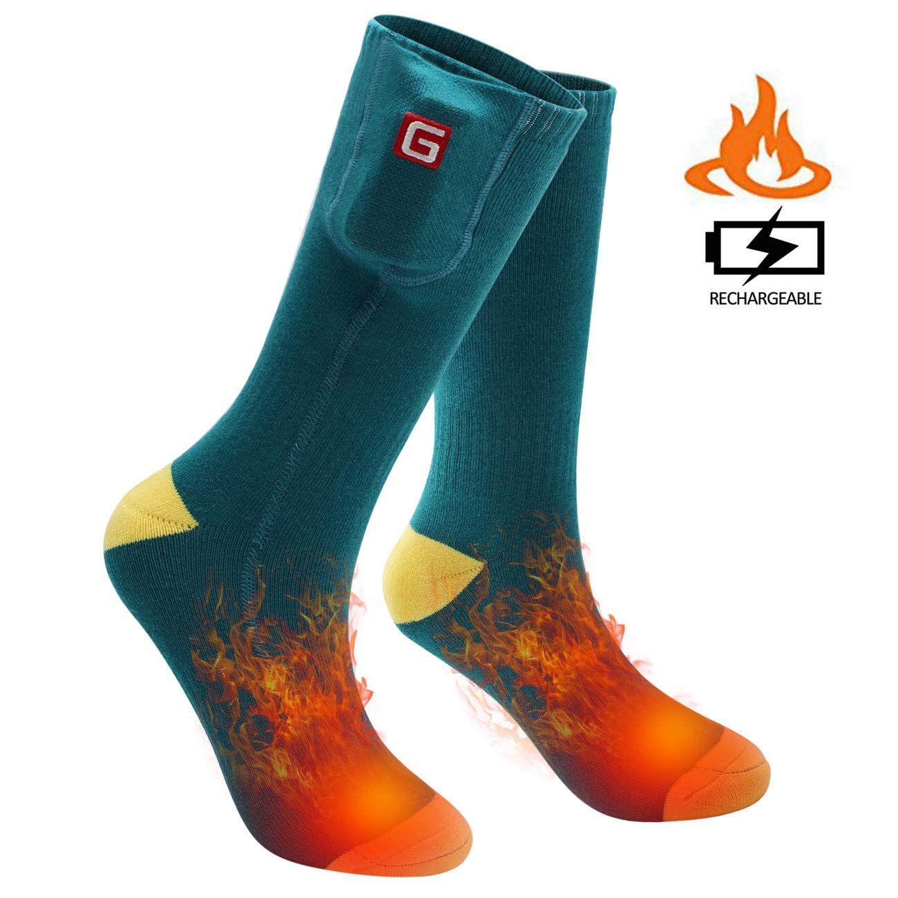 SVPRO Electric Rechargeable Battery Heated Socks Men Women Cold Weather Heated Socks Sport Outdoor Indoor Camping Hiking Hunting Thermal Heating Foot Warmer by SVPRO
