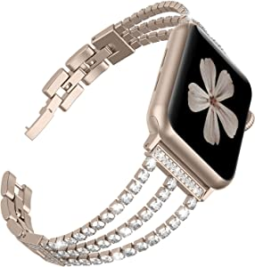 TOYOUTHS Compatible with Apple Watch Band Rose Gold Dressy Bling Jewelry Stainless Steel Wristband Bracelet Sparkle Strap iWatch Bands 40mm Womens SeriesSE 6 5 4 3 2 1 38 mm