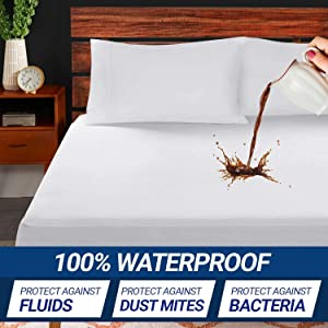 Supremo Craft Mattress Protector - 100% Waterproof Mattress Pad - Breathable Ultrasoft Noiseless, Deep Pocket, Premium Fitted, Vinyl Free - Mattress Cover - (King)
