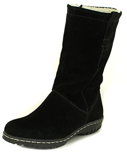 New Womens/Ladies Ever So Soft Boots With Buckle & Strap. - Black -