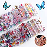 Butterfly Nail Art Stickers Nail Foils Transfer Decals 10 Designs Butterflies Nail Foil Transfer Sticker Manicure Tips Wraps Nail Art Supplies Adhesive Acrylic DIY Decoration Foils Stickers Set
