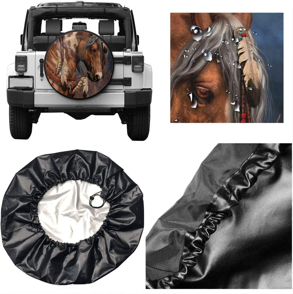 Vbnbvn Housses de pneus Rotating Piano Universal Fit Spare Tire Cover Waterproof Keeps Dirt Rain and Sun Away from Your Spare Tire