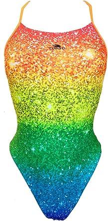 Turbo - Bañador Sinchro Glitter Profesional Señora, Traje de Baño de Natacion Entrenamiento Competicion, Tira Estrecha Doble Capa: Amazon.es: Ropa y accesorios