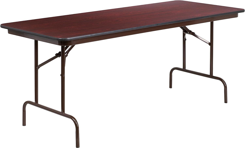Flash Furniture 30'' x 72'' Rectangular Mahogany Melamine Laminate Folding Banquet Table
