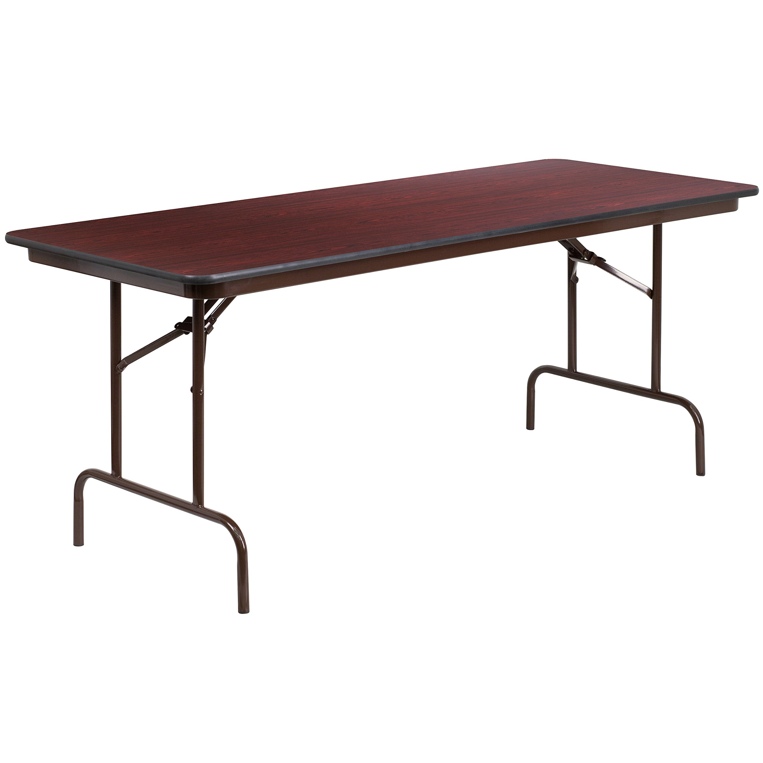 Flash Furniture 30'' x 72'' Rectangular High Pressure Mahogany Laminate Folding Banquet Table by Flash Furniture (Image #1)