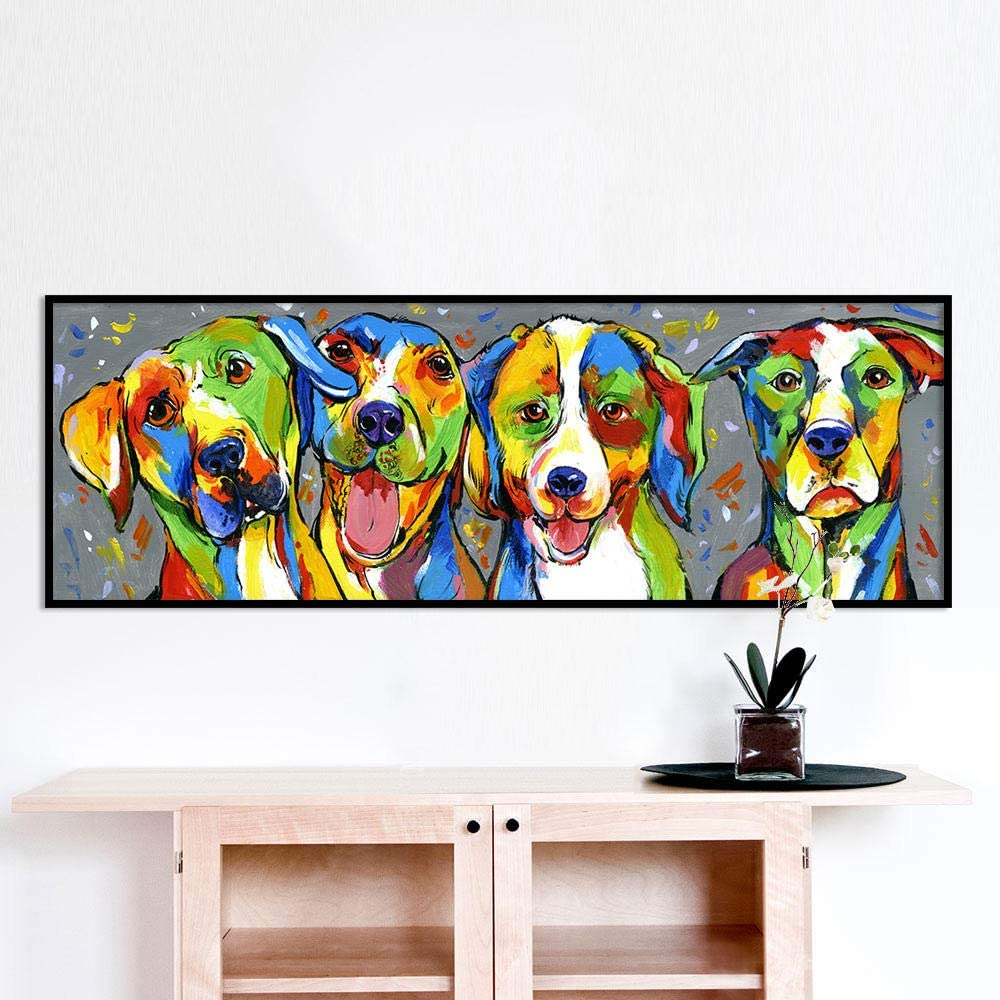 XZRDP Colorful Dog Oil Painting Canvas Wall Art Animal Picture Poster and Print for Living Room Decor-50x150cmx1 pcs no Frame