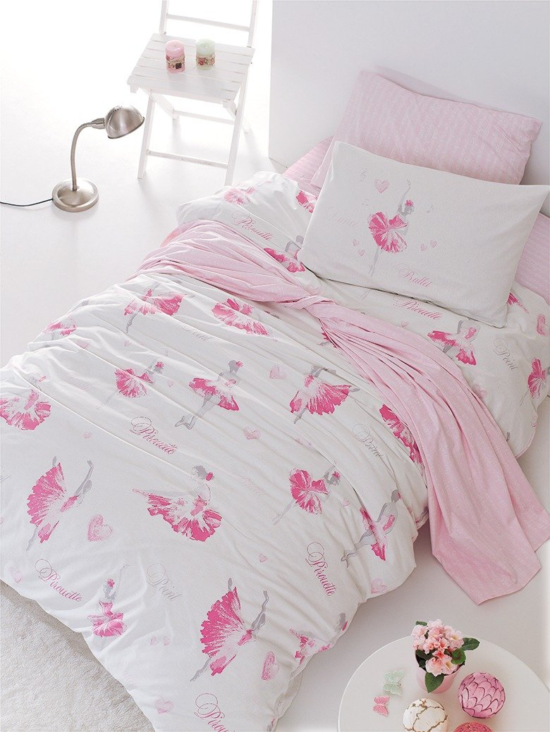 Bekata Ballerina Bedding Set, 100% Cotton Single/Twin Size Quilt/Duvet Cover Set with Fitted Sheet, Girl's Bedding Linens, Pink, (3 PCS) Girl' s Bedding Linens