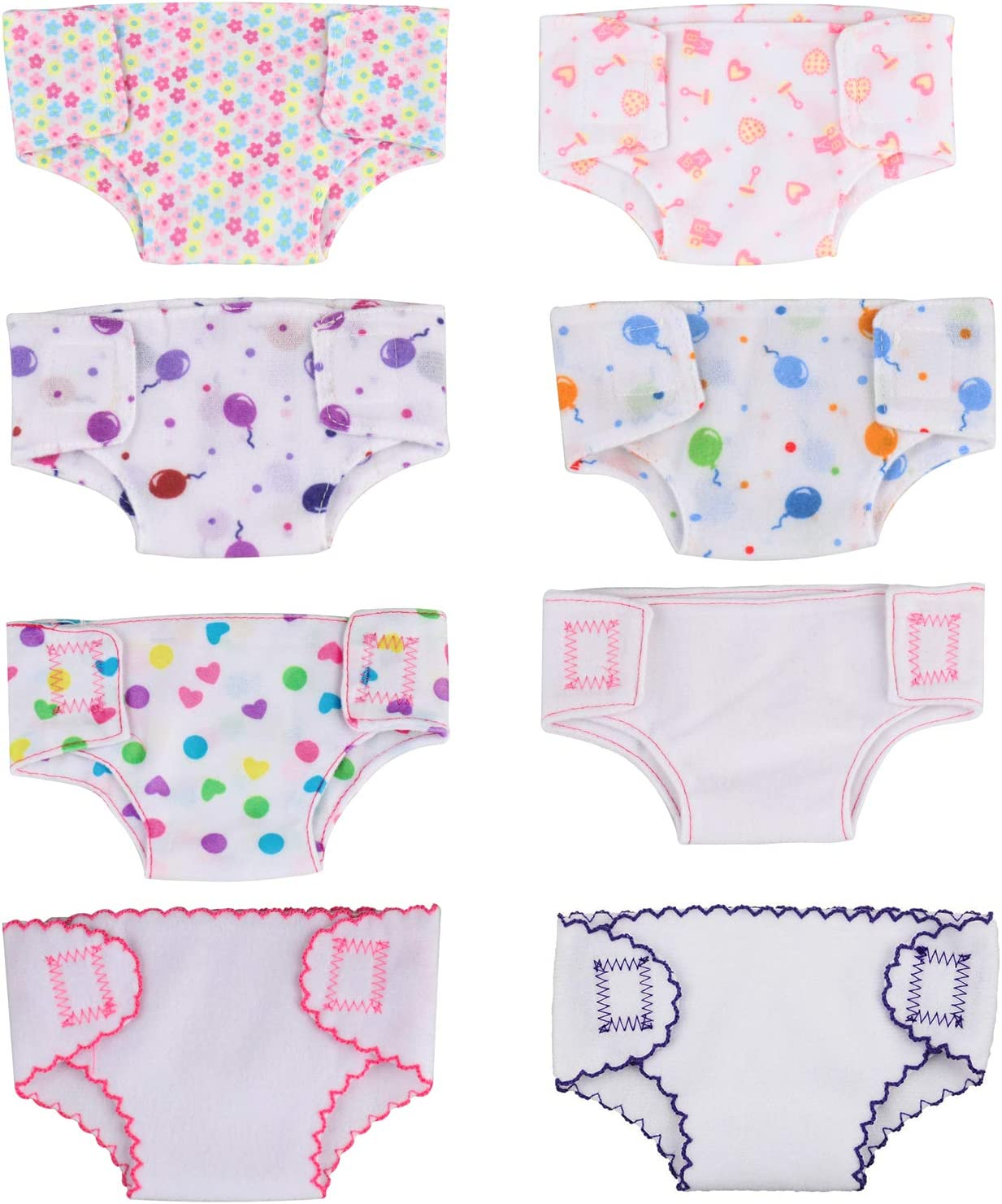 SOTOGO 8 Pieces Doll Diapers Doll Underwear for 18 Inch American Girl Doll and Baby Doll