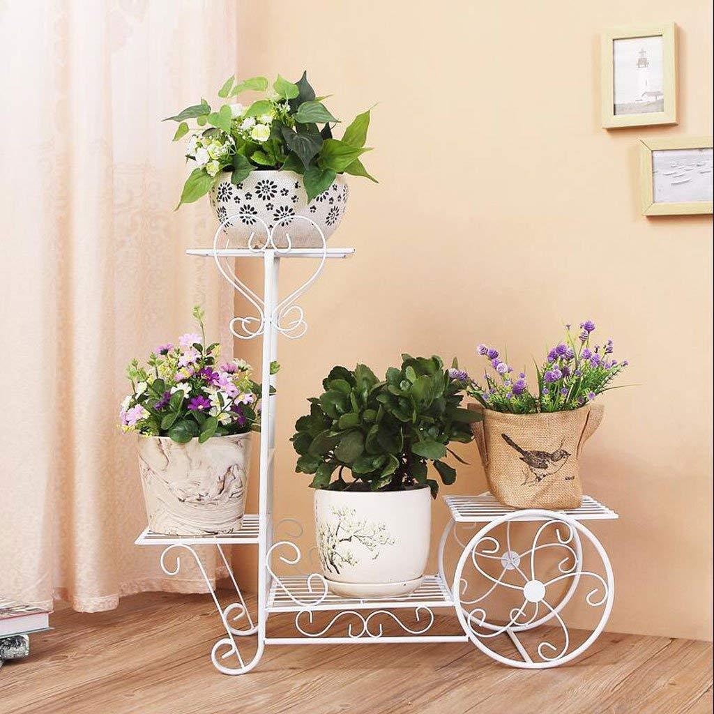 White Gifts & Decor Plant Stand Shelf Flower Racks Iron Art Flower Stand Indoor Balcony Multi-Storey Flower Pot Shelves Living Room Shelf (color   White)
