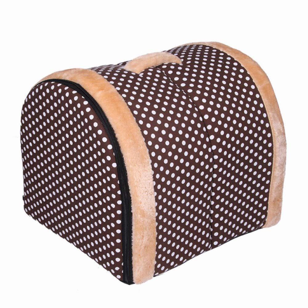 Brown 433937cm Brown 433937cm Gperw Pet Four Seasons Universal Paddual-Use Removable Washable Puppy Nestcat Litter Housecomfortable Pet Nest Non Slip Cushion Pad (color   Brown, Size   43  39  37cm)