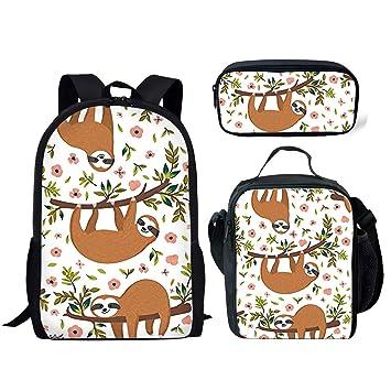 47158dfdba89 FANCOSAN Cute Sloth Pattern Backpack Set Children Junior School Book bag  with Lunch Box Pen Case 3 Pcs