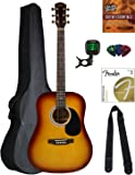 Squier by Fender SA-150 Dreadnought Acoustic Guitar - Sunburst Bundle with Gig Bag, Tuner, Foot Rest, Strings, Austin Bazaar Instructional DVD, and Polishing Cloth