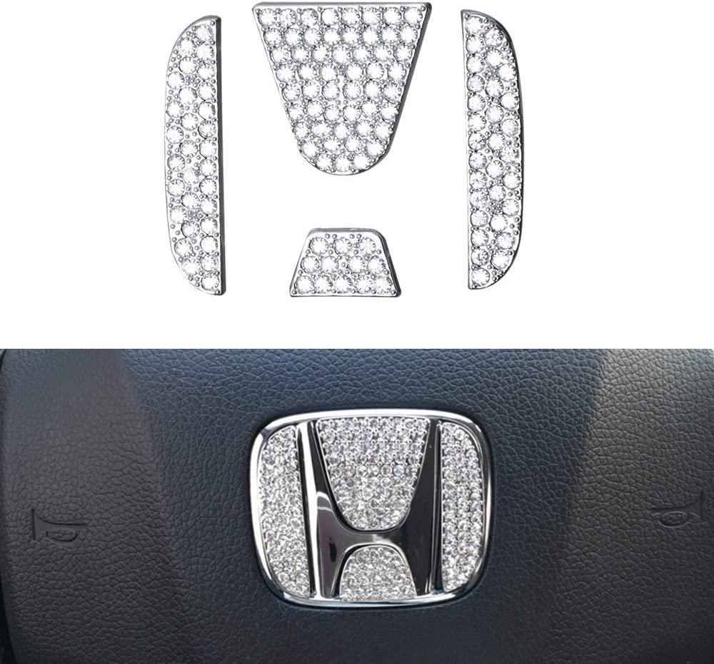LECART for Honda Steering Wheel Emblem Sticker Car Bling Steering Wheel Logo Decal Stickers Auto Interior Steering Wheel Accessories Decor Trims Compatible for Honda Accord Civic CR-V CR-Z Odyssey