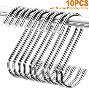 Heavy Duty S Hooks, Stainless Steel S Shaped Hooks for Hanging Kitchenware Pan Pots Utensils Closet Clothes Bags Towels Plants Kitchen Hooks Hanger, 3 inch