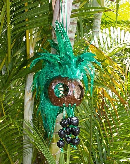 Rainview Creations Extra Large Hawaiian Warrior Ikaika Makaki'i Coconut Shell Feather Helmets Green