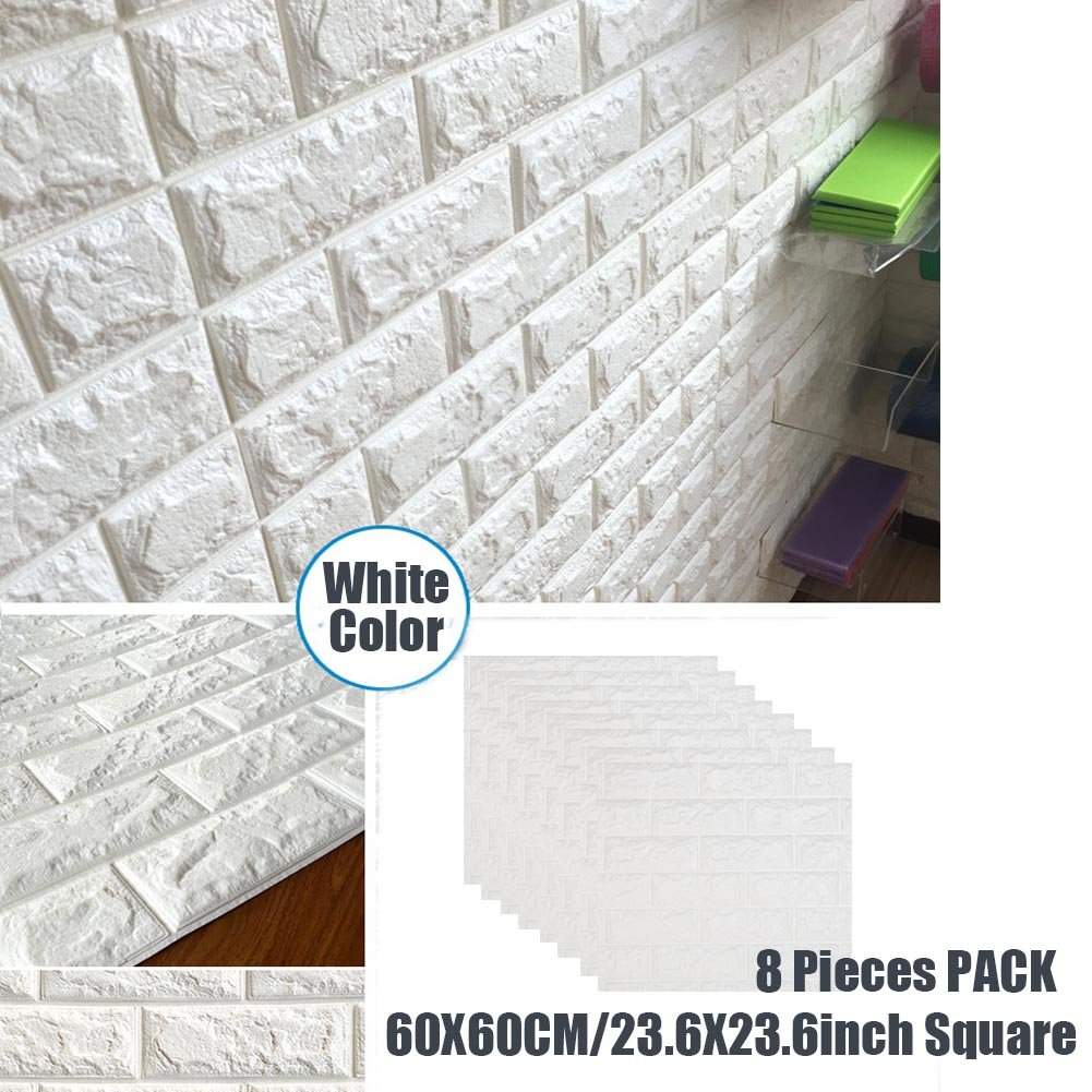 3D Wall Panels Stickers White Brick For Living Room Bedroom Kids Children's Room, Self Adhesive Peel&Stick Faux Foam Bricks Wallpaper 8 PACK by POPPAP (Image #1)