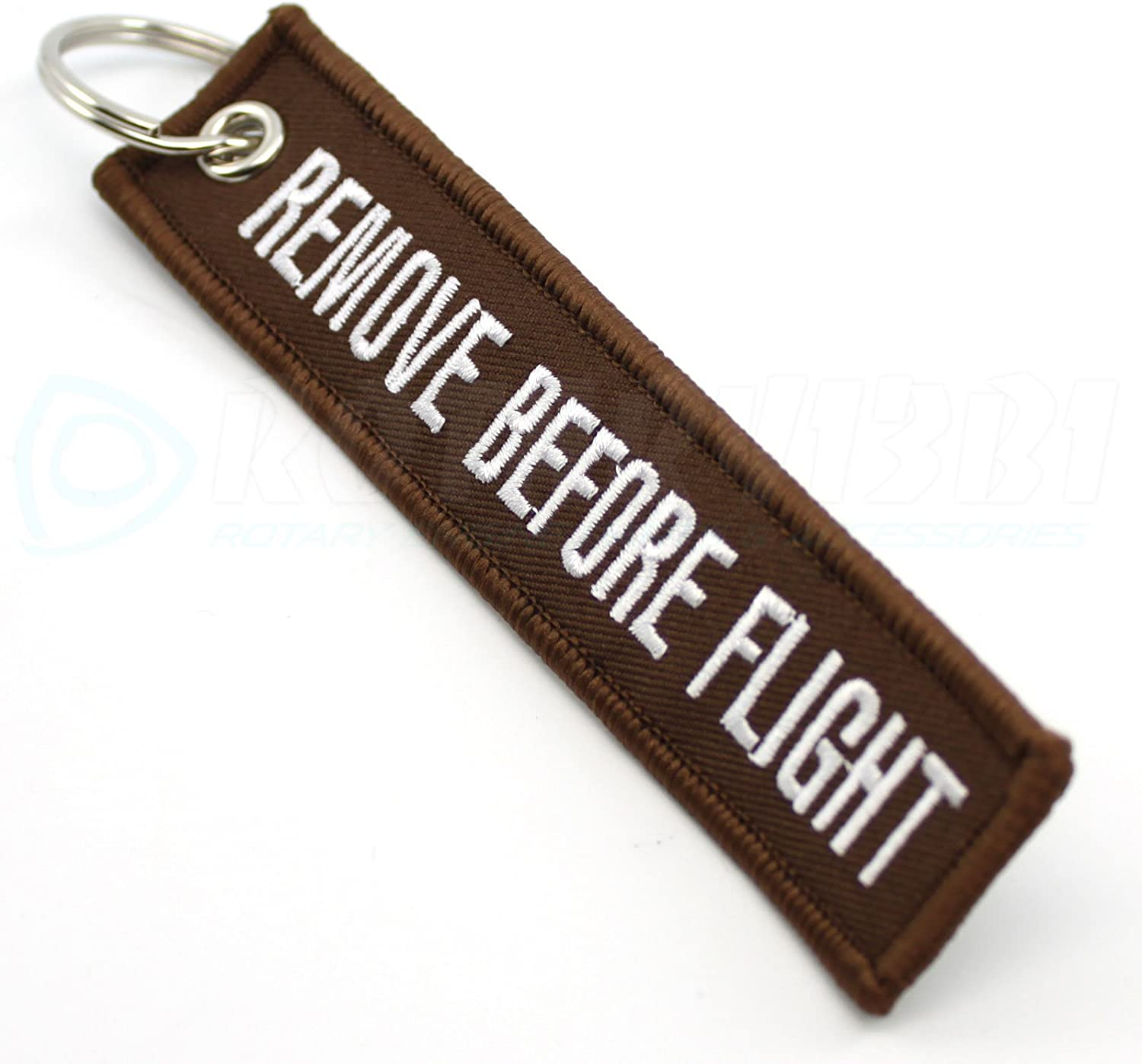 Brown//White by Rotary13B1 Remove Before Flight Keychain