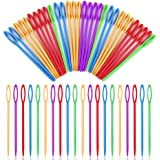 50 PCS Large Eye Plastic Needles(3.5Inch/9cm), Blunt Needles Learning Needles, Safety Plastic Lacing Needles for Kids and Sew