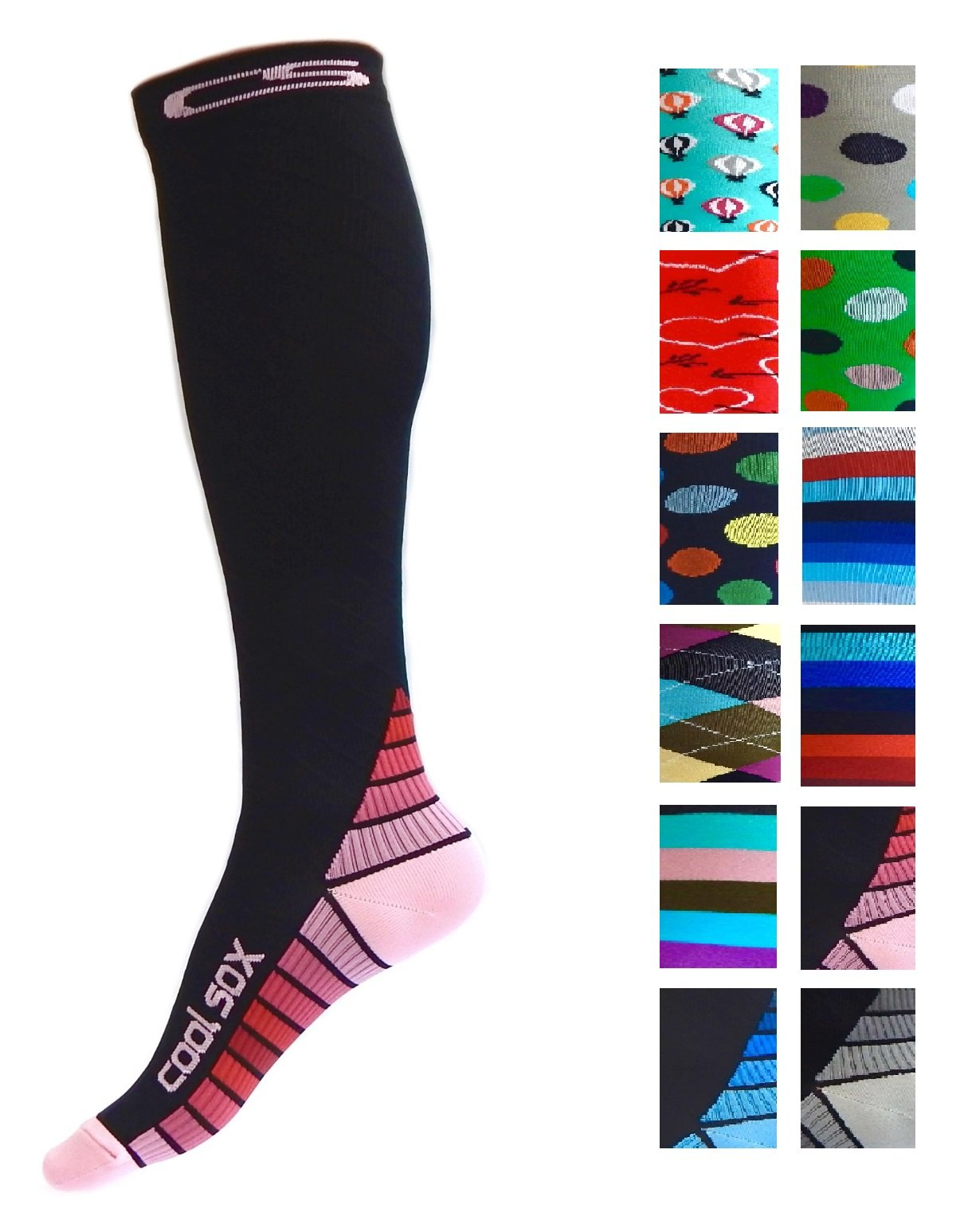 Compression Socks for Men & Women - BEST Graduated Athletic Fit for Running, Nurses, Shin Splints, Flight Travel, & Maternity Pregnancy - Boost Stamina, Circulation & Recovery (Black & Pink, S/M)